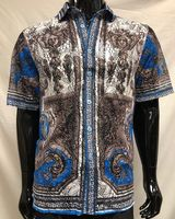 Prestige Party Wear Shirt Blue Medusa Mesh Button Up LACE-434