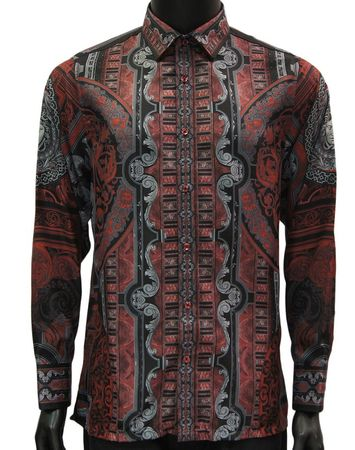 Prestige Party Shirt Mens Red Tapestry Print Pattern PR-805