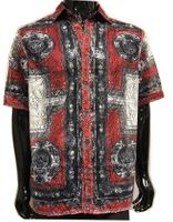Prestige Party Wear Shirt Red Geometric Mesh Button Up LACE-442