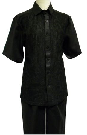 Prestige Mens Irish Linen Walking Suit Black Paisley Mesh LUX789