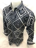 Prestige White Black Pattern Long Sleeve Button Down Shirt PR-802