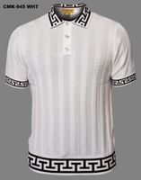 Prestige White Greek Key Polo Collar Short Sleeve Shirt CMK945
