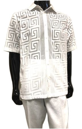 Prestige White Linen Greek Key Lace Outfit Men LUX982