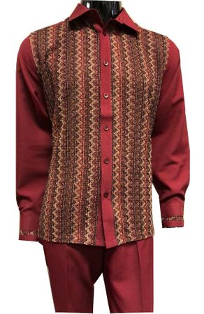 Prestige Wine Burgundy Knit Front Long Sleeve Casual Outfit PM-770
