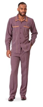 Montique Men's Wine Denim Walking Suit Casual Outfit D-778