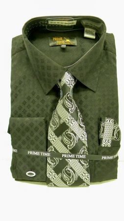 Prime Time Black Fancy French Cuff Dress Shirt Tie Set FC093