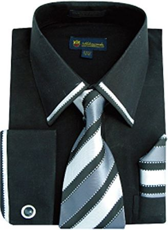 Milano Black Edge Trim French Cuff Shirt Tie Set SG23 Size 18.5 34/35 Final Sale - click to enlarge
