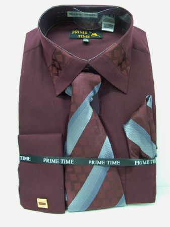 Prime Time Mens Burgundy French Cuff Dress Shirt FC47