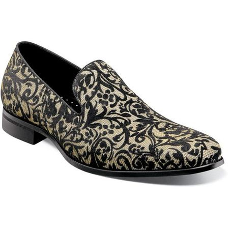Prom Shoes Black Gold Floral Velour Loafer Stacy Adams 25328-042