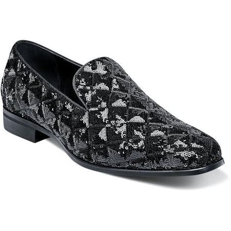 Prom Shoes Black Sequin Slip On Stacy Adams 25229-001