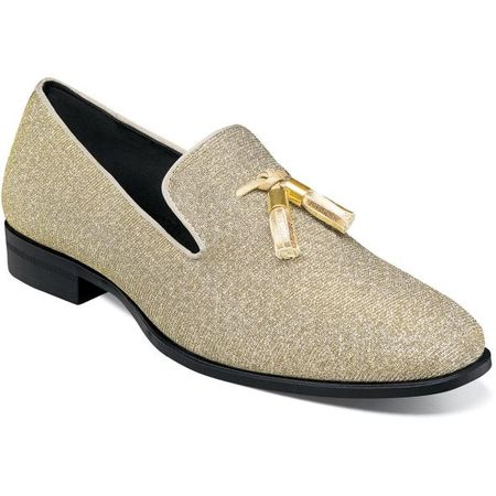 Prom Shoes Gold Glitter Tassel Loafer Stacy Adams 25327-710