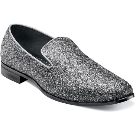 Prom Shoes Silver Glitter Slip On Stacy Adams 25277-040