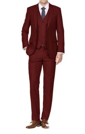 Slim Fit Suits Men's 3 Piece Burgundy Textured Skinny Fitted SV2900