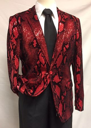 Pronti Designer Blazer Mens Red Sequin Velvet Print Jacket B6286 - click to enlarge