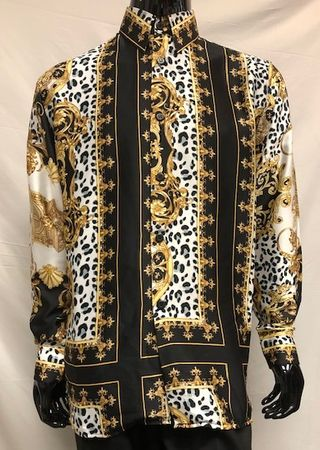 Pronti Men's Fashion Shirt Black Fancy Print Long Sleeve SP6419 Size XL - click to enlarge