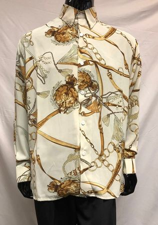 Pronti Men's Fashion Shirt Off White Micro Chain Print S6441 Size  XL - click to enlarge