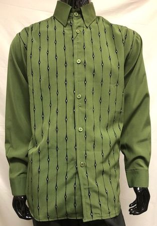 Pronti Men's Fashion Shirt Olive Black Velvet Stripe Long Sleeve SP6446 Size L