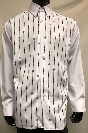 Pronti Men's Fashion Shirt White Black Velvet Stripe Long Sleeve SP6446 Size L, 2XL