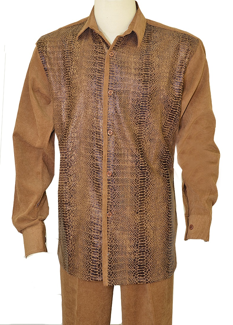 6dd236454 Pronti Men's Light Brown Corduroy Walking Suit Python Print 6346