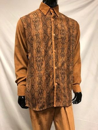 Pronti Walking Suit Rust Corduroy Outfit Snake Print SP4355 - click to enlarge