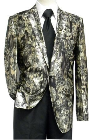 Pronti Men's Satin Fashion Blazer Tan Brush Pattern