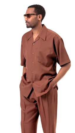 Montique Cognac Rust Short Sleeve Walking Suit 696