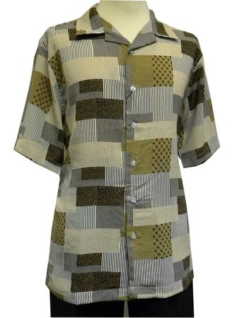 Gochu Men's Chocolate Brown Pattern Casual Short Sleeve Shirt 2002 Size XL