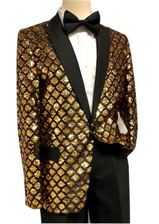 Pronti Mens Gold Black Sequin Blazer Entertainer B6287 Size 40R