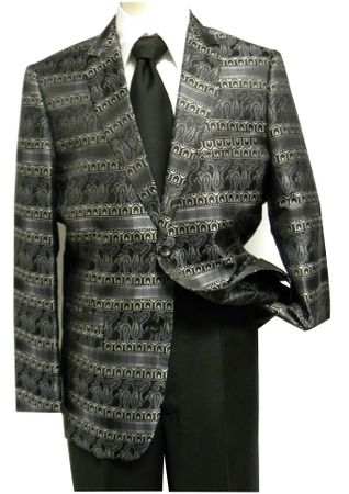 Pronti Mens Black and Gray Paisley Fancy Fashion Blazer Size 40R, 48R, 48L