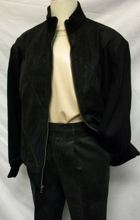 Pronti Mens Black Perforated Micro Suede Leisure Suit 6058 Size L/34