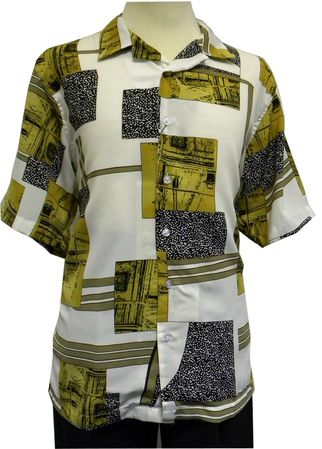 Gochu Men's Brown Ivory Pattern Casual Short Sleeve Shirt 2007