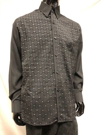Pronti Mens Black Diamond Velvet Printed Button Down Shirt S6447