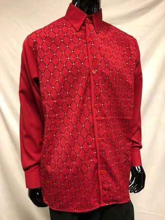 Pronti Mens Red Diamond Velvet Printed Button Down Shirt S6447 - click to enlarge