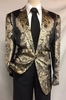 Pronti Mens Black Velour Blazer Gold Foil Design Jacket B6199