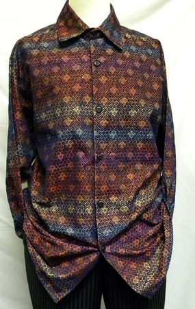 Pronti Mens Blue Multi Color Pattern Long Sleeve Casual Shirt 6202 Size L, 2XL - click to enlarge