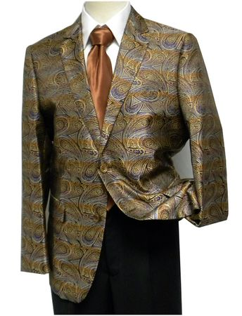 Pronti Mens Bronze Multi Paisley Fancy Entertainer Blazer Size 40R