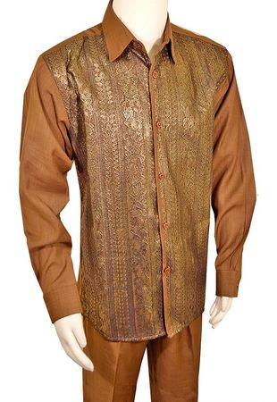 Pronti Mens Walnut Brown Walking Suit Lace Front SP6433