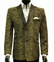 Men's Stylish Blazer Black Gold Entertainer 8018-924 Final Sale