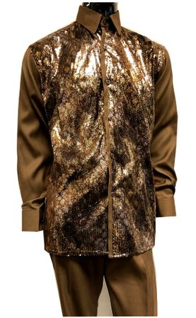 Pronti Mens Brown Sequin Shirt Long Sleeve Fashion Outfit 6345