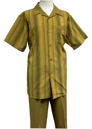 Pronti Mustard Stripe Front Short Sleeve Mens Walking Suits SP6149S-1 Size 2XL