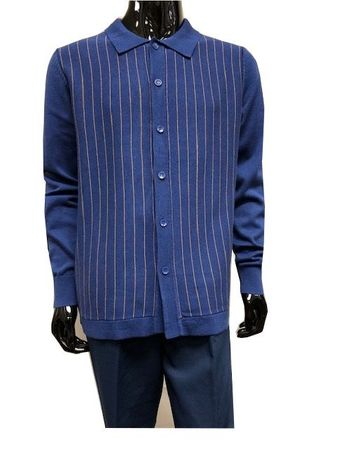 Men's Sweater and Pants Set Blue Stripe Button Front WS838