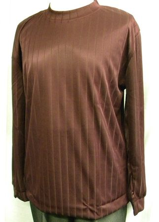 Pronti Mens Burgundy Shadow Stripe Long Sleeve Mock Neck Shirt 1239 - click to enlarge