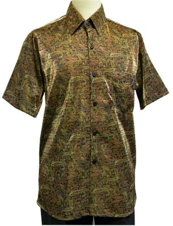 Pronti Mens Gold Black Lurex Paisley Short Sleeve Casual Shirt 6116