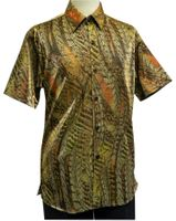 Pronti Mens Gold Brown Lurex Animal Pattern Short Sleeve Casual Shirt 6115