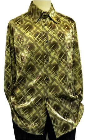 Pronti Mens Gold Lurex Pattern Long Sleeve Casual Shirt 6096 Size L - click to enlarge