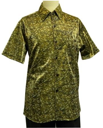 Pronti Mens Gold Olive Lurex Paisley Short Sleeve Casual Shirt 6116 - click to enlarge