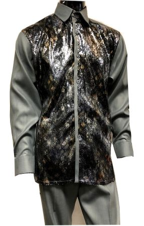 Pronti Mens Gray Sequin Shirt Long Sleeve Fashion Outfit 6345