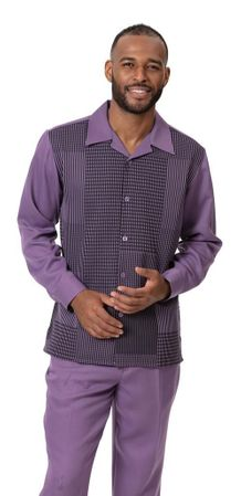 Montique Walking Suit Purple Pattern Long Sleeve 2009