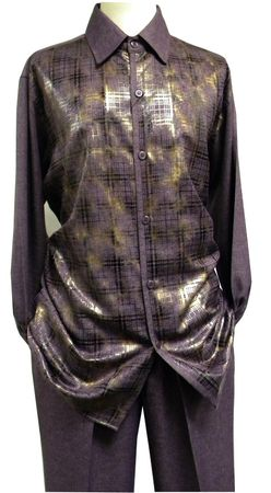 Mens Dress Outfits Purple Heather Foil Pattern Pronti SP6208