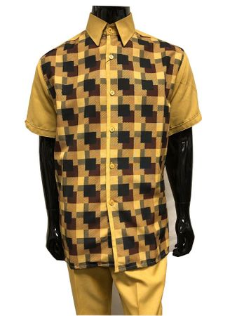 Pronti Mens Dress Outfits Mustard Plaid Casual Partywear 6501